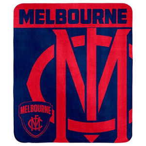 Footy Plus More MANCHESTER Melbourne Demons Fleece Throw Rug
