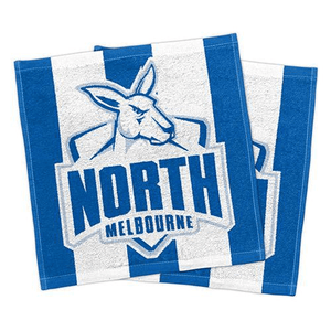Footy Plus More MANCHESTER North Melbourne Kangaroos Set Of 2 Face washers