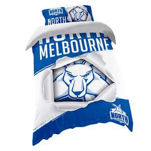 Footy Plus More MANCHESTER North Melbourne Kangaroos Single Bed Quilt Cover