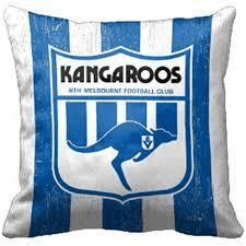 Footy Plus More MANCHESTER NorthMelbourne Kangaroos 1st 18 Cushion Retro logo