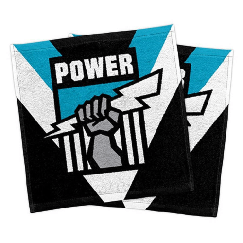 Footy Plus More MANCHESTER Port adelaide Power Pack Of 2 Face Washers
