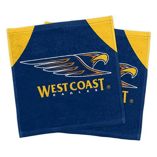 Footy Plus More MANCHESTER West Coast Eagles Set Of 2 Face Washers