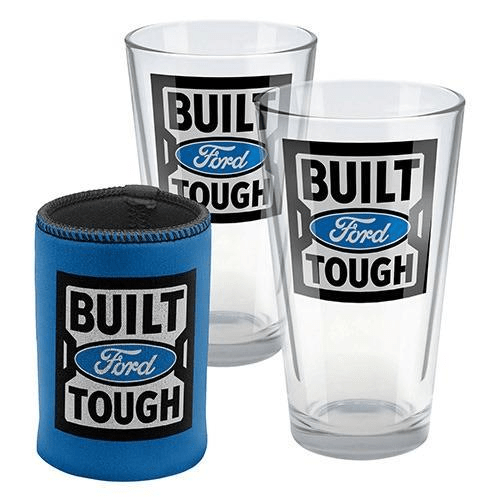 Footy Plus More + More Ford Set of Two conical glasses and can cooler gift pack