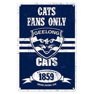 Footy Plus More Sign Geelong Cats Retro Metal Sign