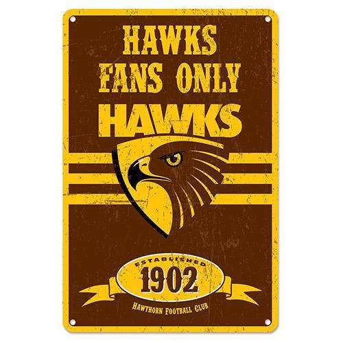 Footy Plus More Sign Hawthorn Hawks RetroMetal sign