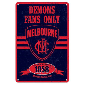 Footy Plus More Sign Melbourne Demons Retro Metal Sign