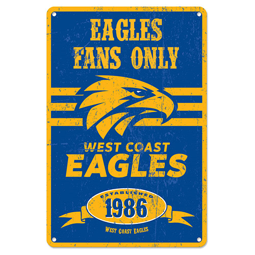 Footy Plus More Sign West Coast Eagles Retro Tin Sign
