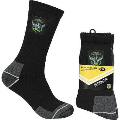 Footy Plus More Socks Canberra Raiders Mens Heavy Duty Work Socks 2 Pack