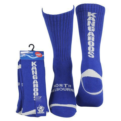 Footy Plus More SOCKS North Melbourne Kngaroos Crew Socks