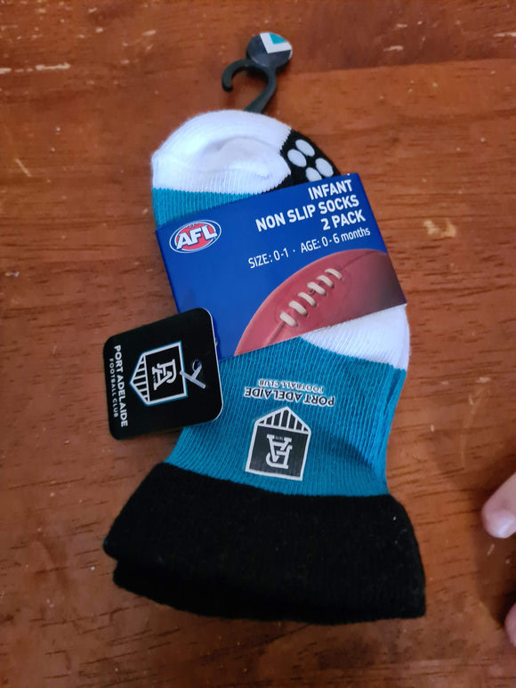 Footy Plus More Socks Port Adelaide Power Infant Non Slip Socks 2 Pack