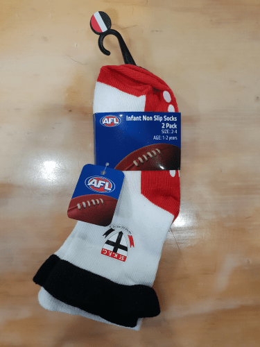 Footy Plus More SOCKS St Kilda Saints Infant Non Slip Socks 2 Pack Logo Design