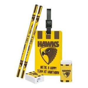 Footy Plus More stationery Hawthorn Hawks Stationery and Bag Tag Set