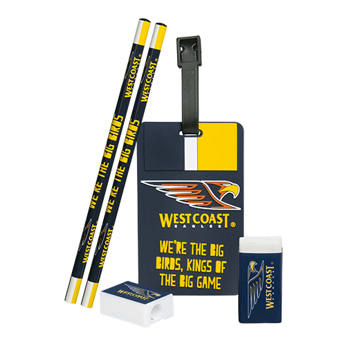 Footy Plus More stationery West Coast Eagles Stationery and Bag Tag Set
