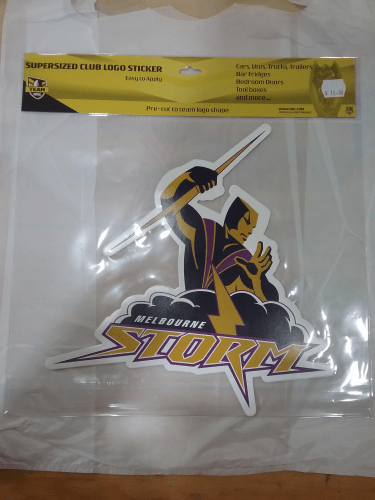 Footy Plus More sticker Melbourne storm supersized logo sticker