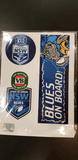 Footy Plus More sticker New South Wales NSW Blues State of origin Set of 5 Bumper Decals