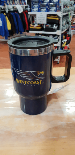 Footy Plus More travel mug West coast Eagles travel mug with handle