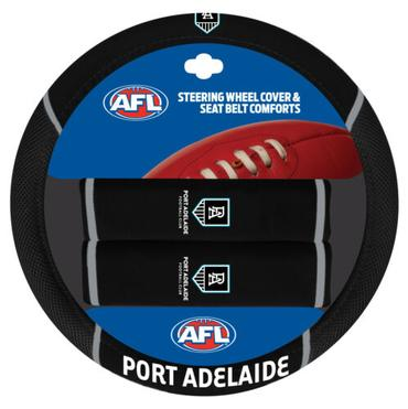 Port Adelaide Power Steering Wheel Cover and Seatbelt Comforts