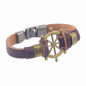 Leather Helm Bracelet - Brass