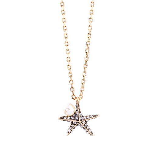 Pearl Crystal Starfish Pendant Necklace