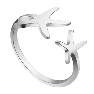 Double Starfish Ring: Nautical Beach Jewelry for Women