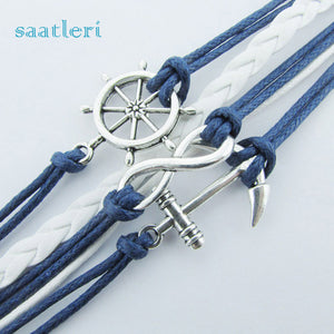 Silver Infinite Bracelet: Blue Leather Rope Bangle