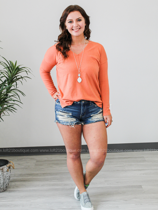 All In Time V-Neck Sweater- Salmon - Loft21 Boutique