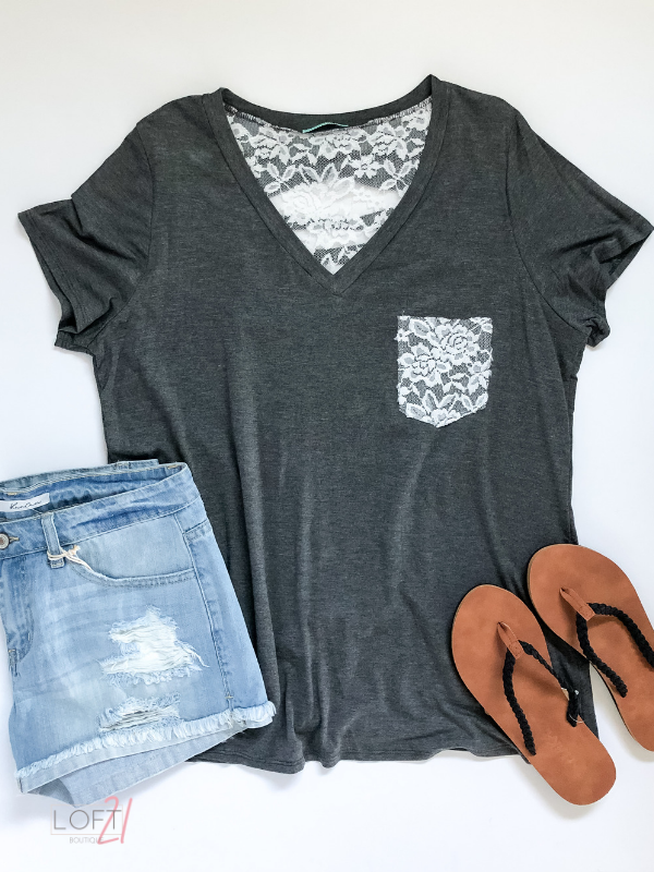 Curvy Just A Touch Of Lace Tee - Loft21 Boutique