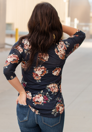 Fall Floral 3/4 Sleeve Top