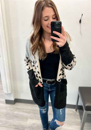 I'm Yours Leopard Color Block Cardigan