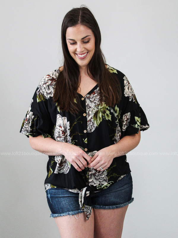 In A Dream Floral Tie Front Top- Black (S-XL)