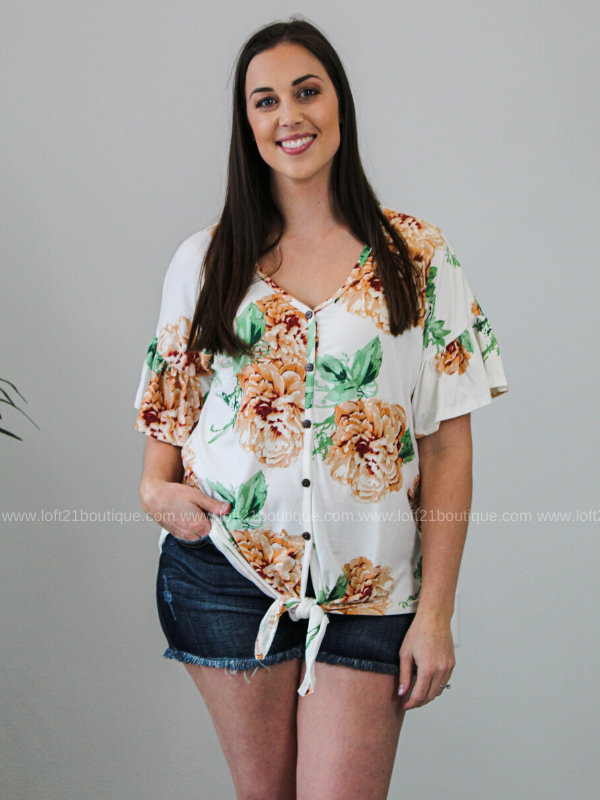 In A Dream Floral Tie Front Top- White (S-XL)