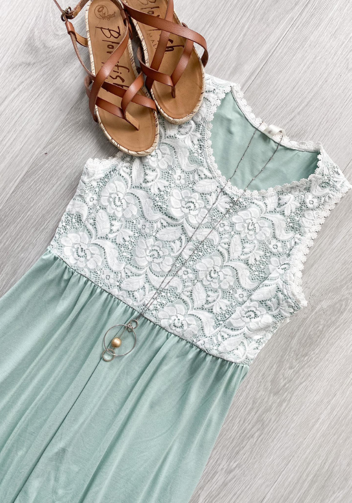 Lace Top Solid Maxi Dress