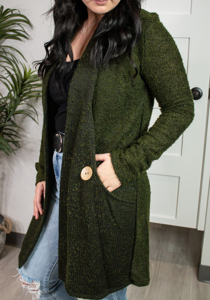 Lexie Dark Olive Cardigan