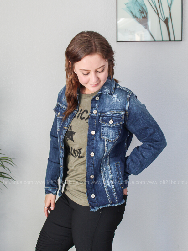 KanCan Meet Me In The Middle Denim Jacket - Loft21 Boutique