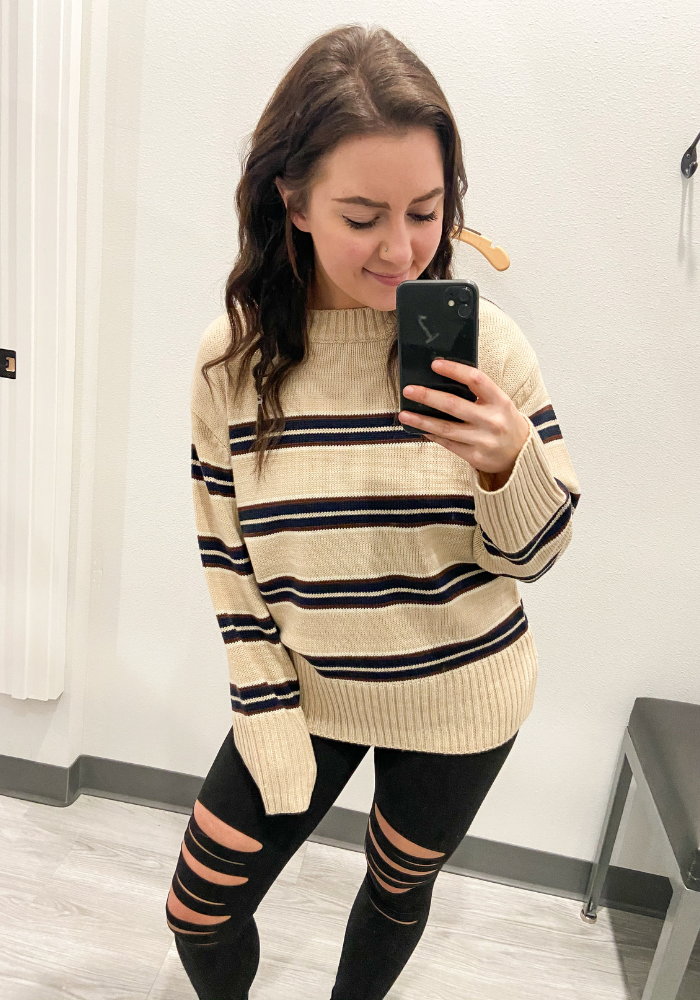 Taupe Striped Knit Sweater