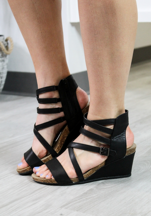 Where I Go Black Wedge Sandal