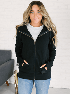 Ampersand Ave Full Zip Sweatshirt- Black - Loft21 Boutique
