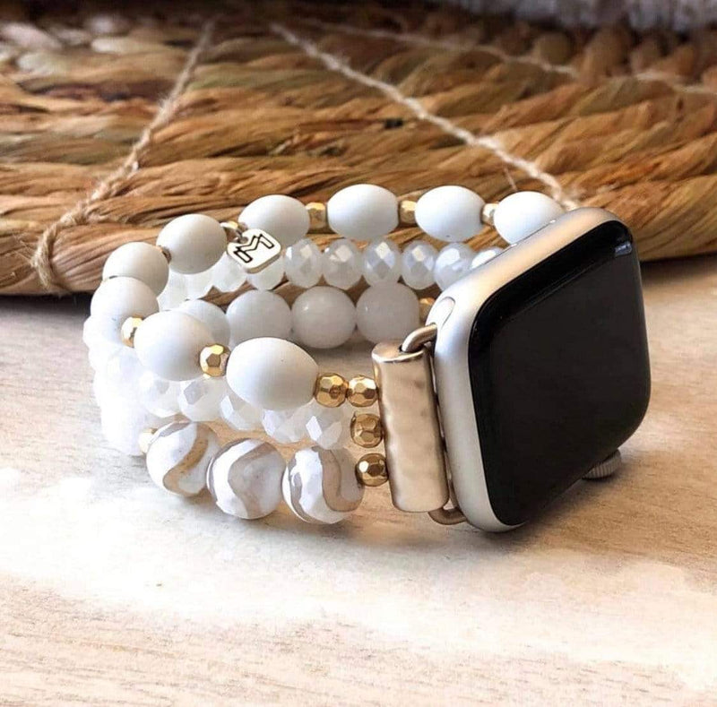 Beaded Apple Watch Band- White - Loft21 Boutique