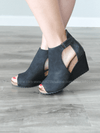 Black Sunburst Wedge - Loft21 Boutique