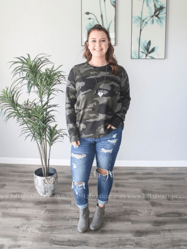 Camouflage Pullover Sweater (S/M-2X/3X) - Loft21 Boutique