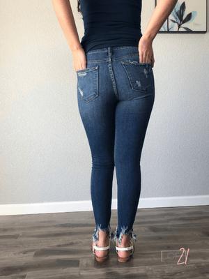 Judy Blue Destroyed Hem Skinny - Loft21 Boutique