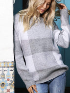 Over-Sized Plaid Knitted Sweater