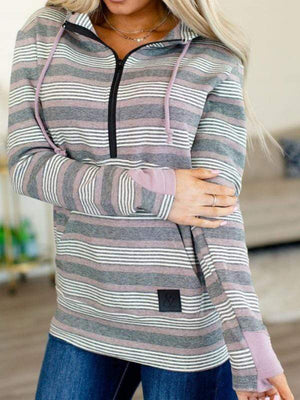 Purple & Black Stripes Half Zip hoodie - Loft21 Boutique