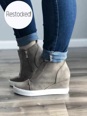 Taupe Wedge Sneaker - Loft21 Boutique