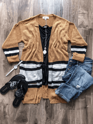 Varsity Stripe Open Front Cardigan (S-3XL) - Loft21 Boutique