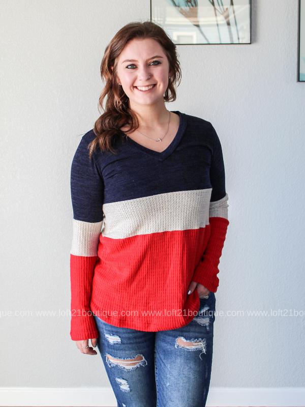 Upbeat Rhythms Color Block Long Sleeve - Loft21 Boutique