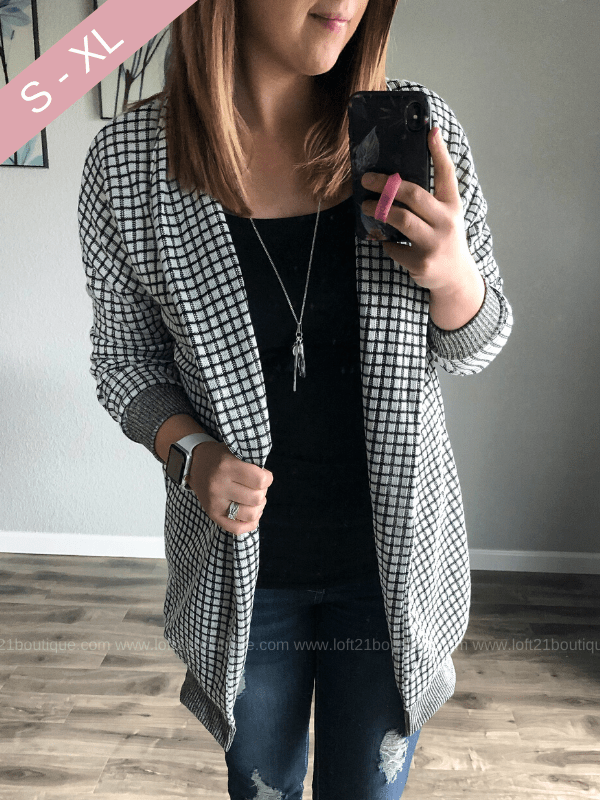 You Make Me Happy Checkered Sweater Cardigan - Loft21 Boutique