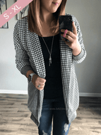 You Make Me Happy Checkered Sweater Cardigan