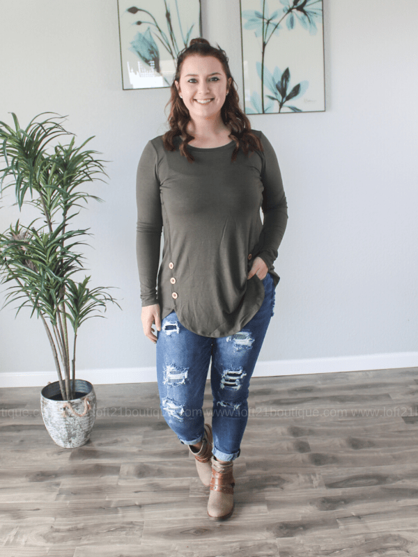 You're Right Wood Button Long Sleeve Top - Loft21 Boutique