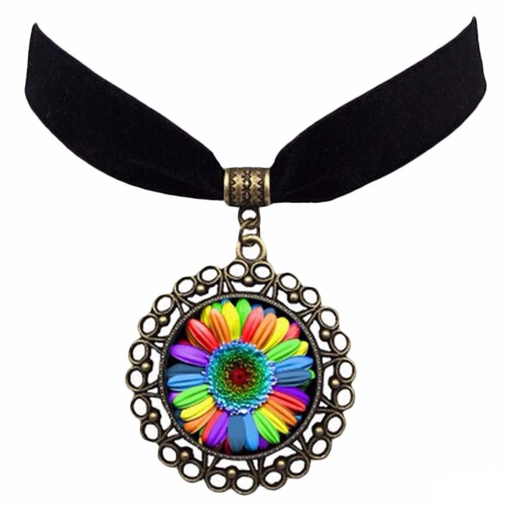 Rainbow Charm Pendant With Velvet Choker Promotion
